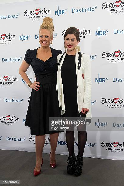 Singer Ann Sophie and host Barbara Schoeneberger poses for the media after winning the finals of the TV show 'Our Star For Austria' on March 5 2015...