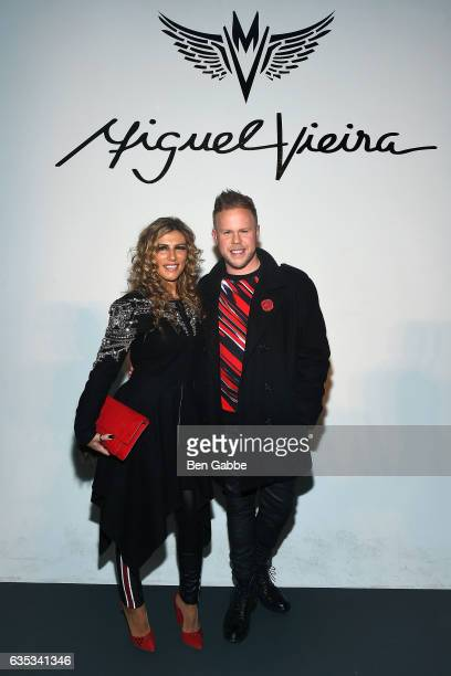 Singer Anna Dominguez and Andrew Werner attend the Miguel Vieira fashion show during New York Fashion Week at Pier 59 Studios on February 14 2017 in...