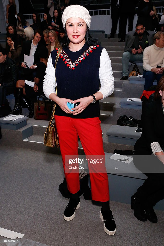 Singer Anna Netrebko attends the Carmen Marc Valvo Fall 2013 fashion show during Mercedes-Benz Fashion Week at The Stage at Lincoln Center on February 8, 2013 in New York City.