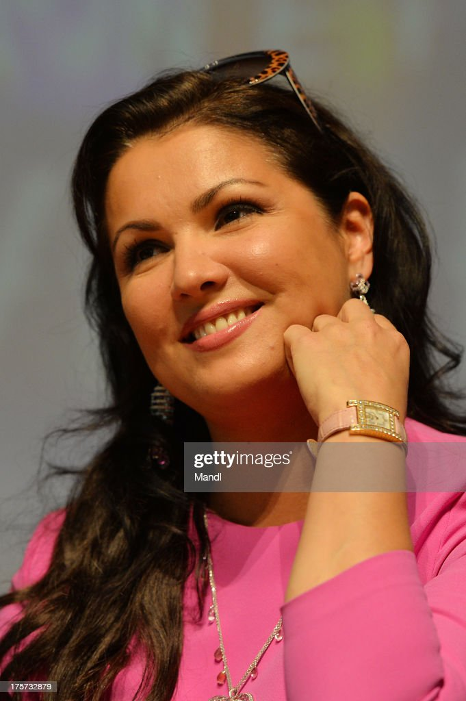 Singer <a gi-track='captionPersonalityLinkClicked' href=/galleries/search?phrase=Anna+Netrebko&family=editorial&specificpeople=732328 ng-click='$event.stopPropagation()'>Anna Netrebko</a> launches her new album 'Verdi' at Mozarteum on August 7, 2013 in Salzburg, Austria.