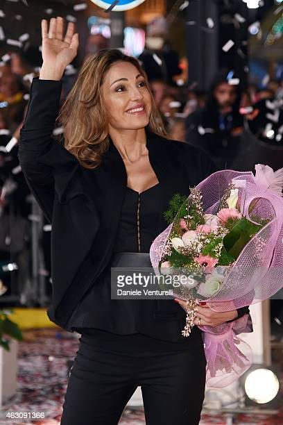 Singer Anna Tatangelo attends preview of 65th Festival della Canzone Italiana 2015 at Teatro Ariston on February 9 2015 in Sanremo Italy