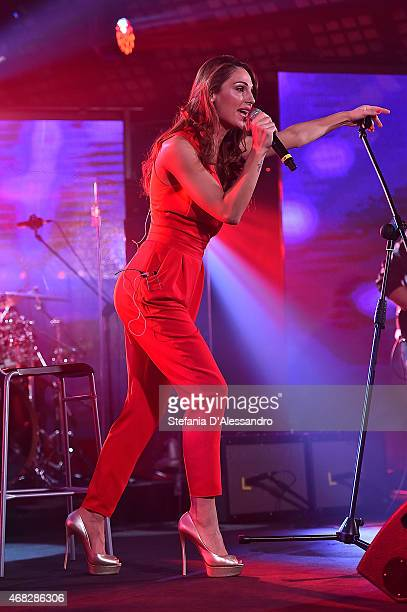 Singer Anna Tatangelo performs at RadioItaliaLive on April 1 2015 in Milan Italy