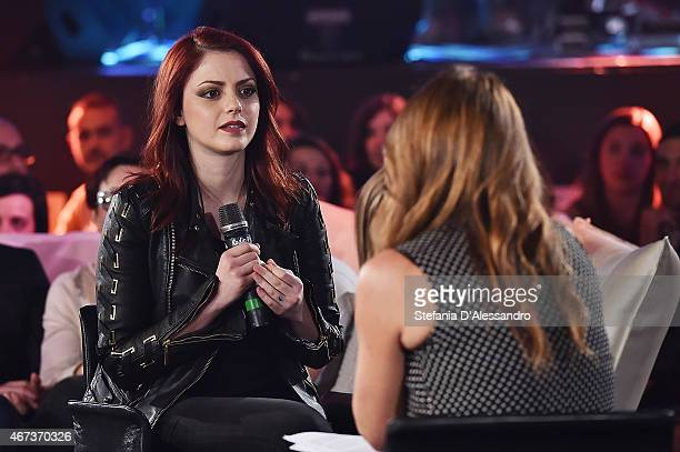 Singer Annalisa Scarrone and Paola Gallo attend RadioItaliaLive on March 23 2015 in Milan Italy