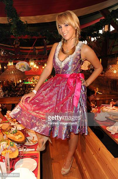 Singer Annemarie Eilfeld attends the 'Goldstar TV Wiesn' as part of the Oktoberfest beer festival at Weinzelt beer tent on September 20 2011 in...
