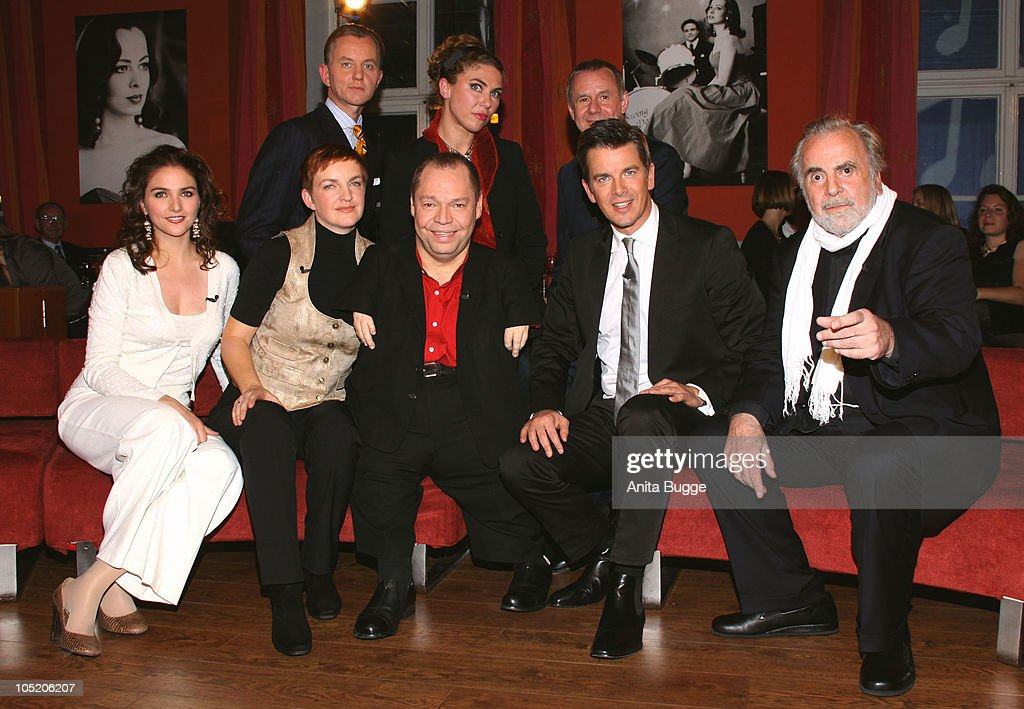 Singer Annette Dasch, Claudia Quasthoff, singer Thomas Quasthoff, host Markus Lanz, actor <a gi-track='captionPersonalityLinkClicked' href=/galleries/search?phrase=Maximilian+Schell&family=editorial&specificpeople=236064 ng-click='$event.stopPropagation()'>Maximilian Schell</a>, (Rear-L-R): singer Max Raabe, singer Sylvia Schwartz and actor Joachim Krol attend the taping of the birthday show for Bassbaritone singer Thomas Quasthoff on October 15, 2009 in Berlin, Germany.