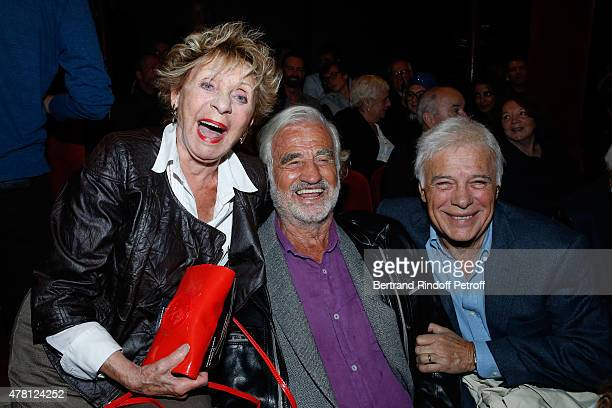 Singer Annie Cordy Actor JeanPaul Belmondo and Humorist Guy Bedos attend the 2015 Public performance of 'L'Entree Des Artistes' Held at Theatre de la...