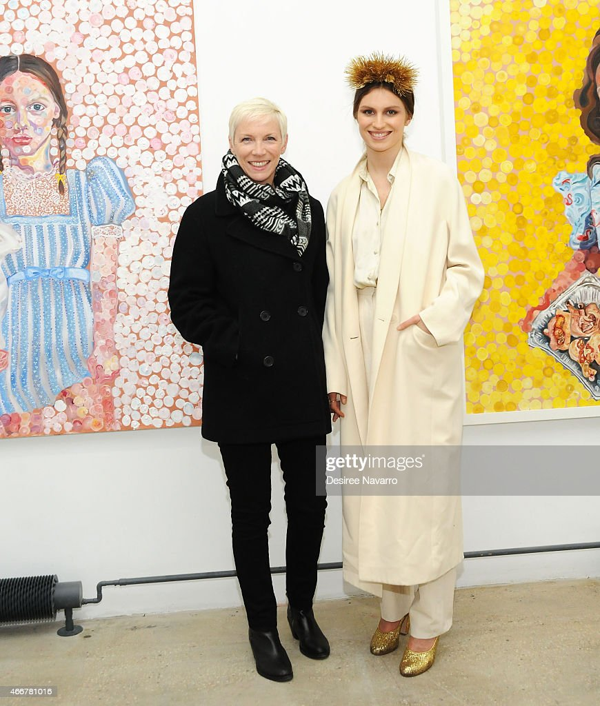 Singer Annie Lennox and artist Tali Lennox attend Tali Lennox Exhibition Opening Reception at Catherine Ahnell Gallery on March 18 2015 in New York...