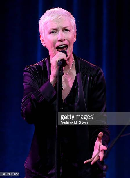 "Singer Annie Lennox speaks onstage during the 'GREAT PERFORMANCES ""Annie Lennox Nostalgia in Concert""' panel discussion at the PBS Network portion of..."