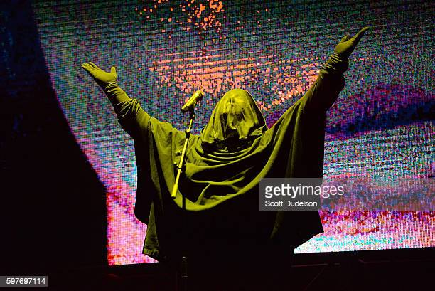 Singer Anohni peforms onstage during the FYF Festival at Los Angeles Sports Arena on August 28 2016 in Los Angeles California
