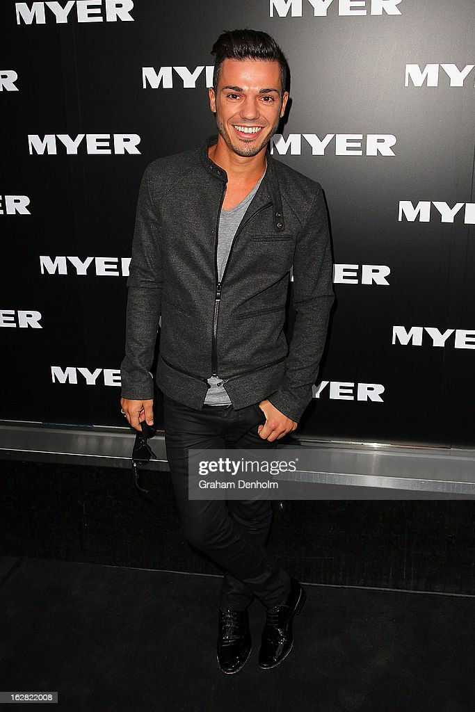 Singer <a gi-track='captionPersonalityLinkClicked' href=/galleries/search?phrase=Anthony+Callea&family=editorial&specificpeople=207095 ng-click='$event.stopPropagation()'>Anthony Callea</a> arrives at the Myer Autumn/Winter 2013 collections launch at Mural Hall at Myer on February 28, 2013 in Melbourne, Australia.