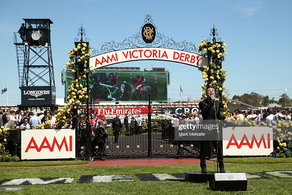 Singer Anthony Callea performers before the AAMI Victoria Derby on Victoria Derby Day at Flemington Racecourse on November 2, 2013 in Melbourne, Australia.