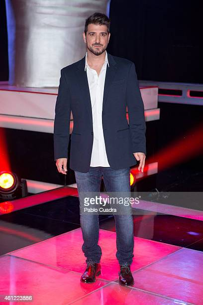 Singer Antonio Orozco poses during a photocall to present the new season of 'La Voz' at 'Picasso' studios on January 9 2015 in Madrid Spain