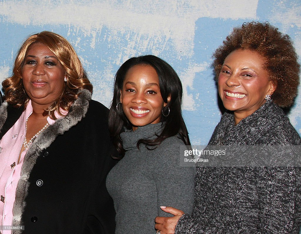 Singer Aretha Franklin Actress Anika Noni Rose and Actress Leslie Uggams pose backstage where Aretha Franklin celebrated her 66th Birthday with...