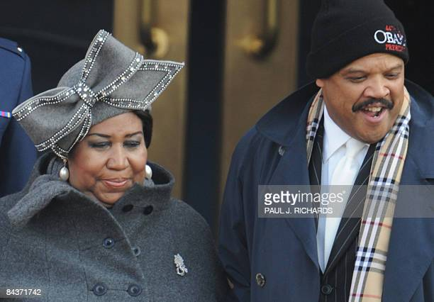 US singer Aretha Franklin arrives for the inauguration of Barack Obama as 44th US president on January 20 2009 in Washington DC AFP PHOTO/Paul J...
