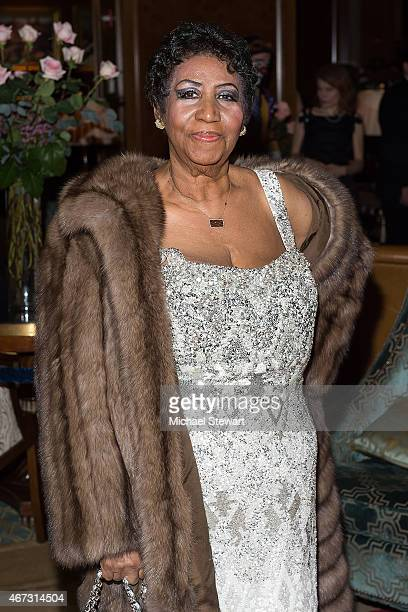 Singer Aretha Franklin attends her birthday celebration at the Ritz Carlton Hotel on March 22 2015 in New York City