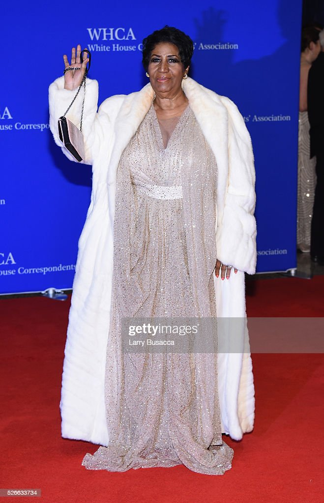 Singer <a gi-track='captionPersonalityLinkClicked' href=/galleries/search?phrase=Aretha+Franklin&family=editorial&specificpeople=210665 ng-click='$event.stopPropagation()'>Aretha Franklin</a> attends the 102nd White House Correspondents' Association Dinner on April 30, 2016 in Washington, DC.