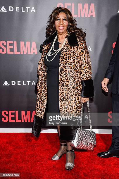 Singer Aretha Franklin enters the 'Selma' New York Premiere at the Ziegfeld Theater on December 14 2014 in New York City