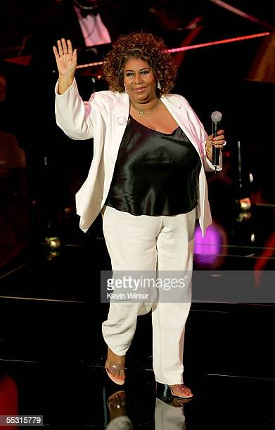 Singer Aretha Franklin is seen onstage at the 10th Annual Soul Train Lady of Soul Awards held at the Pasadena Civic Auditorium on September 7 2005 in...