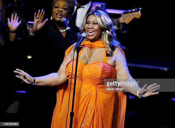 Singer Aretha Franklin performs at the Nokia Theatre LA Live on July 25 2012 in Los Angeles California