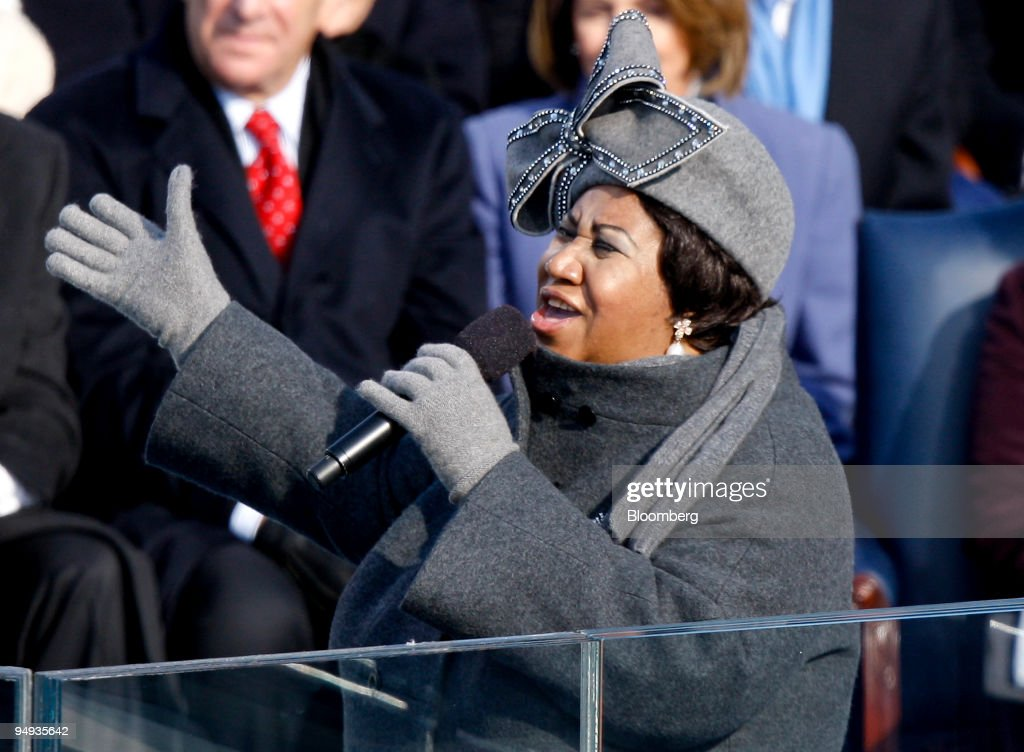 Singer Aretha Franklin performs during the inauguration ceremony for US President Barack Obama at the US Capitol in Washington DC US on Tuesday Jan...