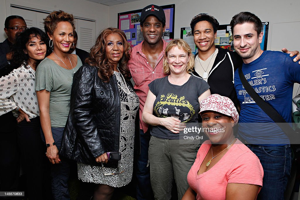 Singer Aretha Franklin (3rd from left) poses with the cast of 'A Streetcar Named Desire' (L-R) Daphne Rubin-Vega, Nicole Ari Parker, Blair Underwood, Amelia Campbell, J. Mallory McCree, Matthew Saldivar, and Danielle Lee Greaves backstage at The Broadhurst Theatre on June 1, 2012 in New York City.
