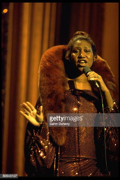 Singer Aretha Franklin rehearsing for Inaugural Eve program for newly elected US President Jimmy Carter and Vice President Walter Mondale at the...