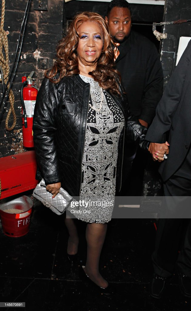 Singer Aretha Franklin visits the cast backstage prior to attending a performance of 'A Streetcar Named Desire' at The Broadhurst Theatre on June 1, 2012 in New York City.