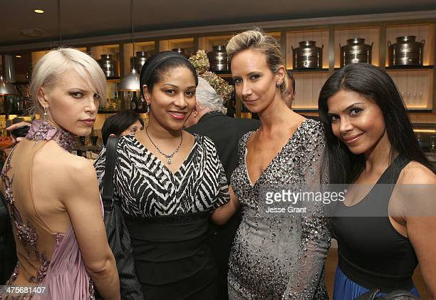 Singer Aria Crescendo Ashley Sousa Lady Victoria Hervey and actress Sheila Shah attend the Women In Film PreOscar Cocktail Party presented by...