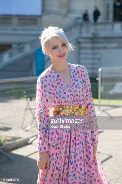 Singer Aria Crescendo wears a Manish Arora dress on day 3 during Paris Fashion Week Autumn/Winter 2017/18 on March 2 2017 in Paris France