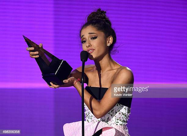 Singer Ariana Grande accepts Favorite Pop/Rock Female Artist award onstage during the 2015 American Music Awards at Microsoft Theater on November 22...