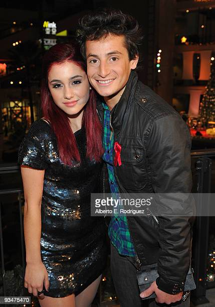 Singer Ariana Grande and singer/producer Frankie Grande arrives at Hollywood Highland Center and One Heartland's 'Holiday of Hope' tree lighting...