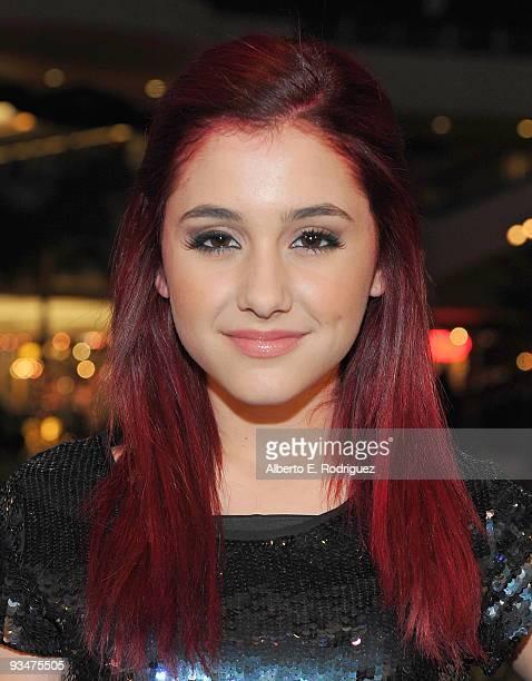 Singer Ariana Grande arrives at Hollywood Highland Center and One Heartland's 'Holiday of Hope' tree lighting celebration on November 28 2009 in...