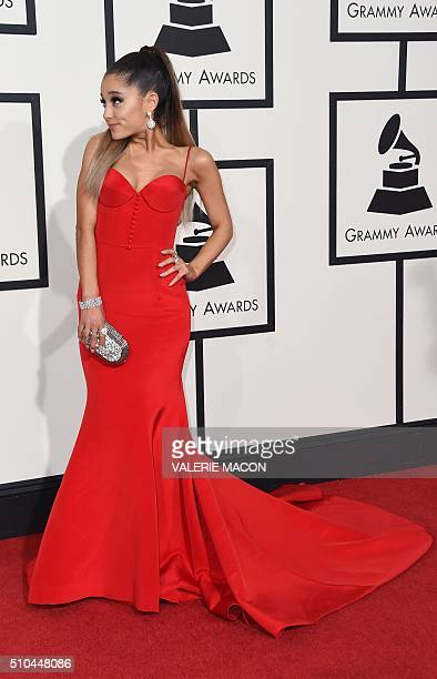 Singer Ariana Grande arrives on the red carpet during the 58th Annual Grammy Music Awards in Los Angeles February 15 2016 AFP PHOTO/ Valerie MACON /...