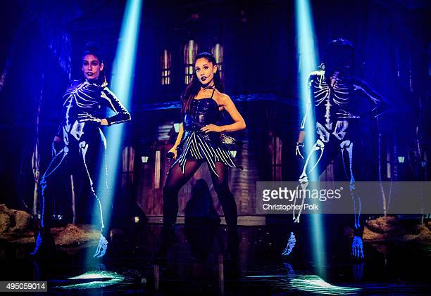 Singer Ariana Grande performs during IHeartMedia presents Ariana Grande World Premiere Event on the Honda Stage at iHeartRadio Theater on October 30...