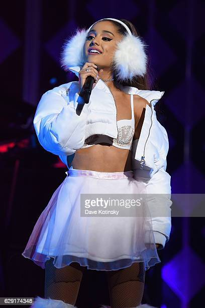 Singer Ariana Grande performs on stage during KISS 108's Jingle Ball 2016 at TD Garden on December 11 2016 in Boston Massachusetts