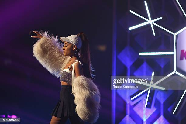 Singer Ariana Grande performs onstage during 1035 KISS FM's Jingle Ball 2016 at Allstate Arena on December 14 2016 in Rosemont Illinois