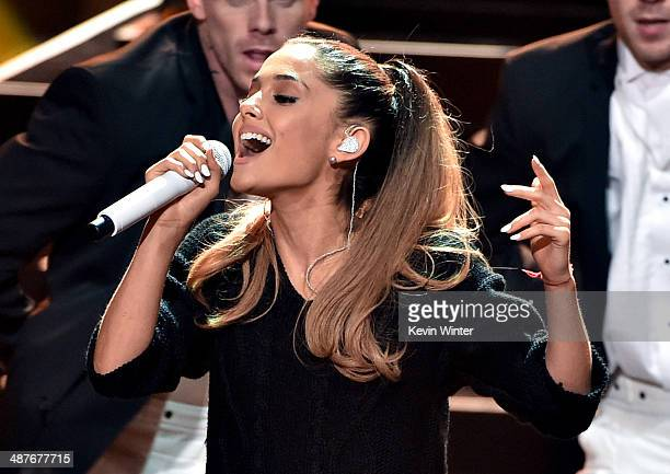 Singer Ariana Grande performs onstage during the 2014 iHeartRadio Music Awards held at The Shrine Auditorium on May 1 2014 in Los Angeles California...
