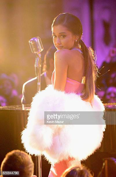 Singer Ariana Grande performs onstage during the 2016 MTV Movie Awards at Warner Bros Studios on April 9 2016 in Burbank California MTV Movie Awards...
