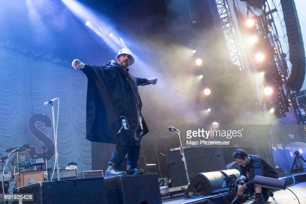 Singer Arnim TeutoburgWeiss of Beatsteaks performs on stage during the second day of 'Rock am Ring' on June 3 2017 in Nuerburg Germany