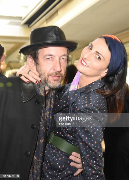 Singer Arthur H and Sylvie Ortega Munos attend the Agnes B Show as part of the Paris Fashion Week Womenswear Spring/Summer 2018 on October 3 2017 in...