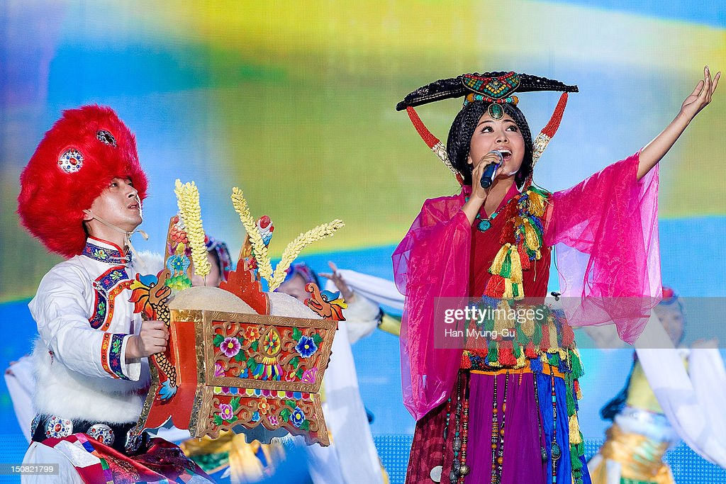 Singer Aruo A Zhuo from China performs onstage during the KBS Korea-China Music Festival on August 25, 2012 in Yeosu, South Korea.