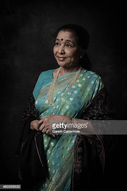 Singer Asha Bhosle is photographed at the 11th Annual Dubai International Film Festival held at the Madinat Jumeriah Complex on December 11 2014 in...