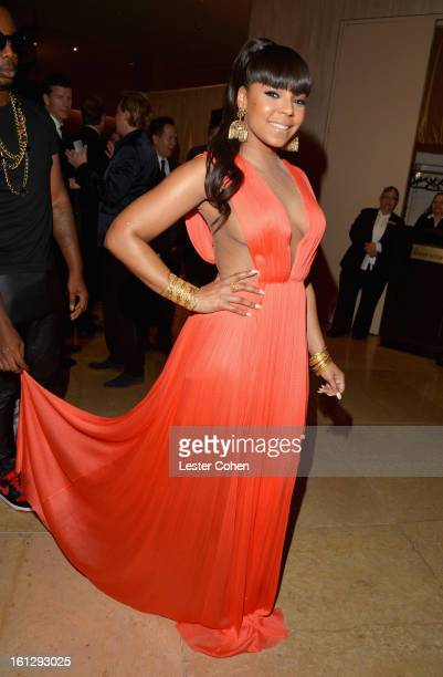 Singer Ashanti arrives at the 55th Annual GRAMMY Awards PreGRAMMY Gala and Salute to Industry Icons honoring LA Reid held at The Beverly Hilton on...