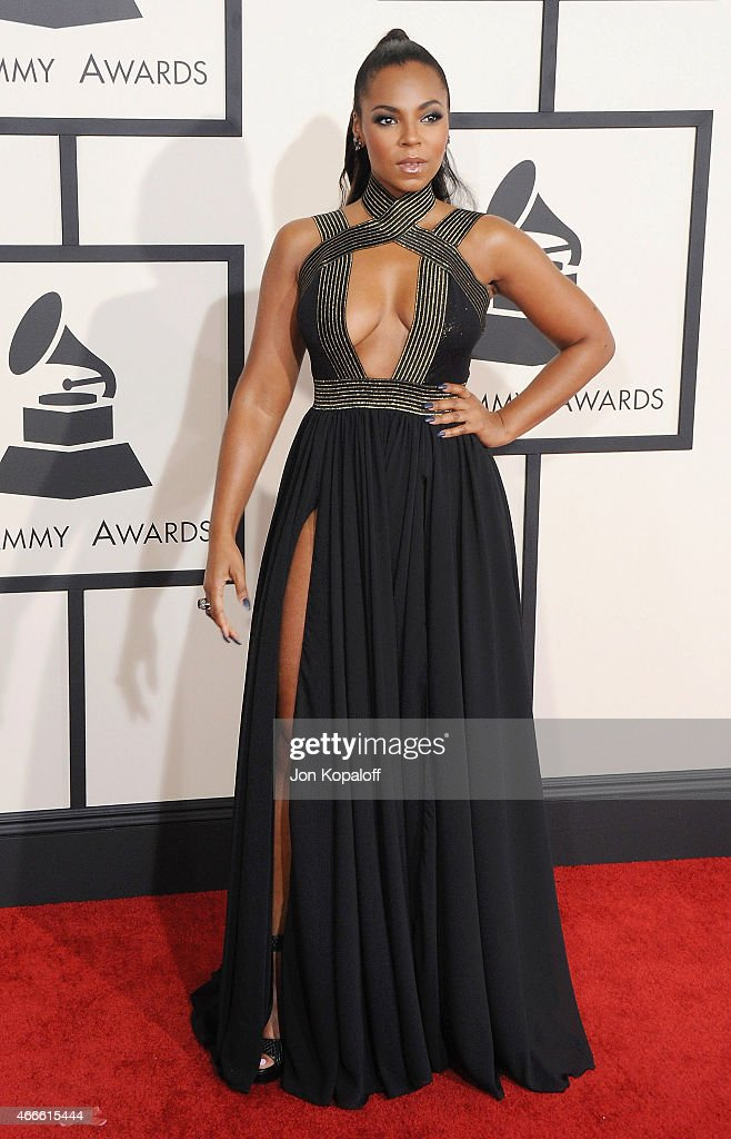 Singer Ashanti arrives at the 57th GRAMMY Awards at Staples Center on February 8, 2015 in Los Angeles, California.