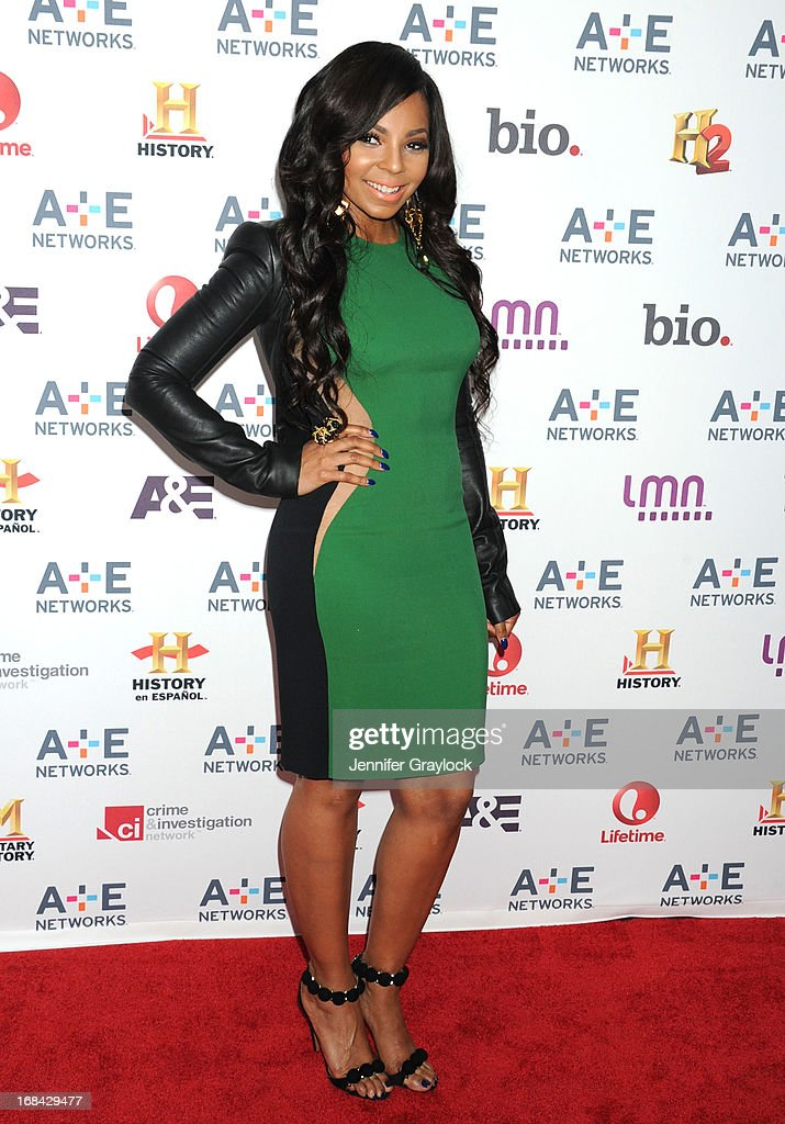 Singer <a gi-track='captionPersonalityLinkClicked' href=/galleries/search?phrase=Ashanti&family=editorial&specificpeople=146300 ng-click='$event.stopPropagation()'>Ashanti</a> attends the A+E Networks 2013 Upfront at Lincoln Center on May 8, 2013 in New York City.