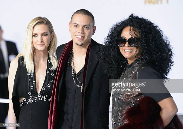 Singer Ashlee Simpson actor/musician Evan Ross and singer Diana Ross attend the Premiere of Lionsgate's 'The Hunger Games Mockingjay Part 1' at Nokia...