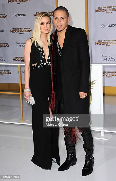 Singer Ashlee Simpson and actor Evan Ross arrive for the Premiere Of Lionsgate's 'The Hunger Games Mockingjay Part 1' Arrivals held at Nokia Theatre...