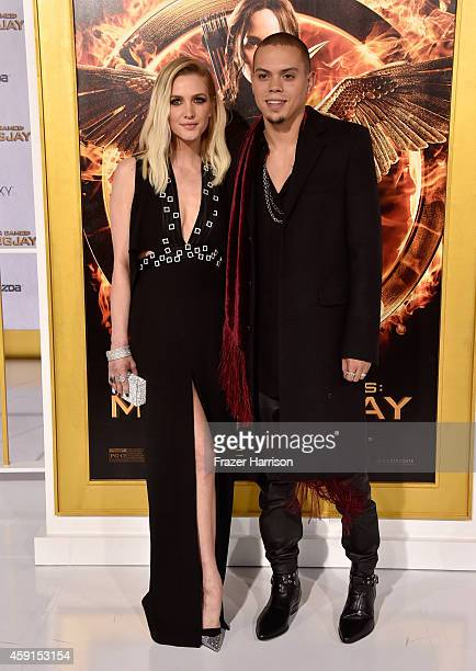 Singer Ashlee Simpson and actor/musician Evan Ross attend the premiere of Lionsgate's 'The Hunger Games Mockingjay Part 1' at Nokia Theatre LA Live...