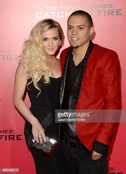 Singer Ashlee Simpson and Evan Ross arrive at the premiere of Lionsgate's 'The Hunger Games Catching Fire' at Nokia Theatre LA Live on November 18...