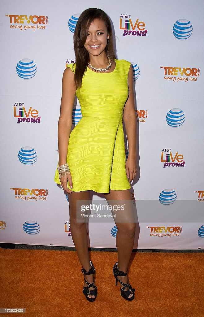 Singer Aubrey Cleland attends the Adam Lambert performance and check donation presentation to The Trevor Project for 'Live Proud' Campaign at Playhouse Hollywood on July 3, 2013 in Los Angeles, California.